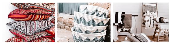 Marokkanische Wohnaccessoires wie Bastkörbe, Decken und Kissen